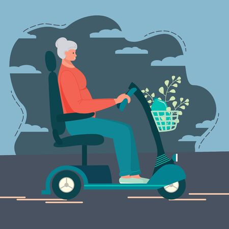Grandmother, an elderly woman rides an electric scooter. Modern mobile life style of pensioner. Funny happy granny on electric motorcycle rides on the road. Sport, walk, shopping. Vector illustration Stock Illustratie
