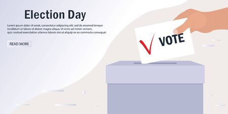Web banner template for electronic voting. Hand puts a leaflet with a voice and a tick in the ballot box. Heading Election Day, place for text. Presidential election day. Make choice. Web site design Vettoriali