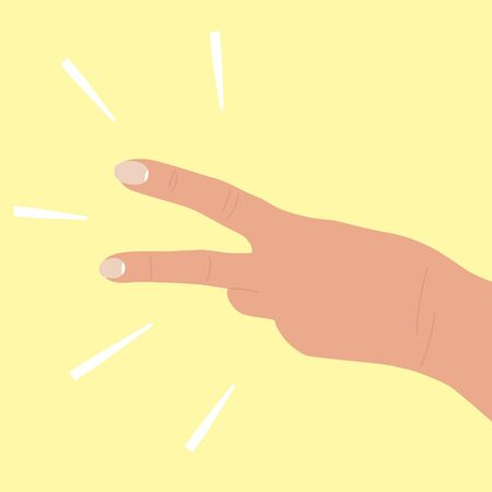 Hand shows two fingers. The back of the hand, white skin color, horizontal location. 2 points, counting mark, number two. Symbol, gesture. Cartoon flat illustration. Isolated on yellow background.