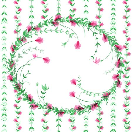 Delicate floral frame. Climbing plants make room for text. Tropical pink flowers, green leaves and butterflies. Holiday card template. Beautiful border with magical flowers. Deciduous wreath. Vector Illustration