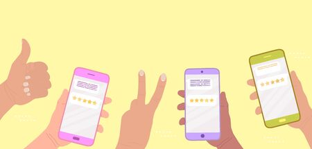 Customers give a five star rating. Hands hold smart phones and show positive signs - good job, victory. Online review concept. People leave feedback, customer experience. Business satisfaction support