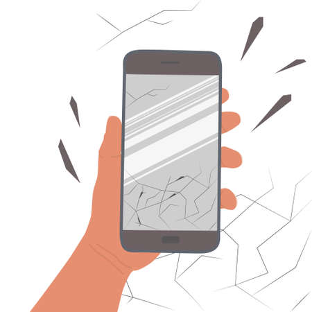 Hand holds smartphone with a cracked screen. Glass fragments scattered to the sides. Damage to the touch screen of the mobile phone. Broken glass. Vector illustration isolated on a white background.