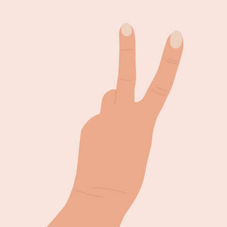 Gesture peace. Hand raised up. Two fingers show the letter v. Back of the hand. Symbol, victory icon. Flat cartoon vector illustration. Female hand showing victory sign Illustration