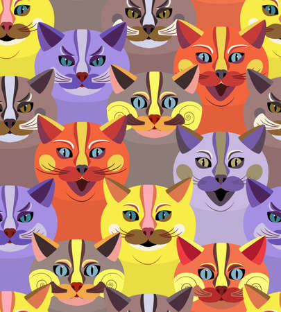 Seamless pattern with bright cute cats. Endless texture with cartoon animal faces. Childrens print. Background with heads of funny cats. Vector illustration