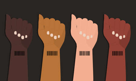 Barcode on wrist of human hands. Concept of global digitalization and control. International struggle for human rights. Symbol of genetic digital identification of people. ID card, bar code on hand Vektorové ilustrace