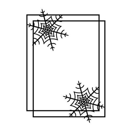 Black outline square frame with snowflakes. Decorative border for holiday Christmas, Halloween. Design template for greeting card, paper cut, xmas ornament, tag. Vector illustration isolated on white