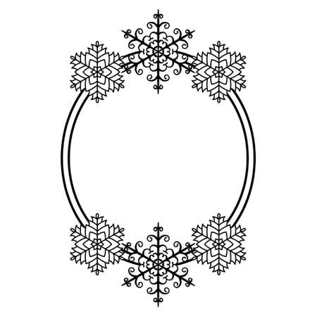 Oval frame with a beautiful pattern of snowflakes. Christmas border, template for congratulations, invitations, cutting out, crafts. Vector illustration isolated on white background. Xmas frame 向量圖像