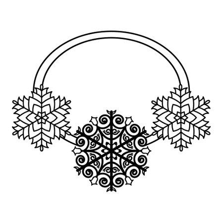 Black snowflake frame isolated on white background. Christmas border design. Vector illustration, merry xmas, snow flake framework. Greeting card, sale, flyer template