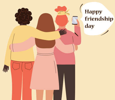 Three best friends take a selfie on the phone, hug. Happy girlfriends celebrate friendship day. Cartoon women flat characters, viewed from the back. Vector illustration. Womens love, relationships