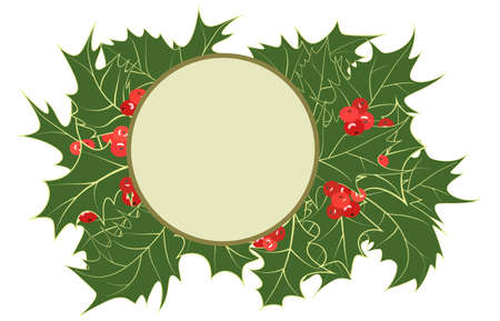 Vintage frame from holly plant. Round border with place for photos, inscriptions, congratulations. Christmas wreath with green leaves, red holly berries. Vector illustration. Beautiful frame for Xmas