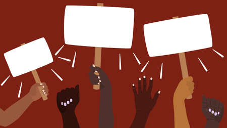 Protest banner. A group of people are holding blank placards. Peaceful protest, demonstration, political campaign, rally, demonstration. Hands of different skin colors are raised up. Vector concept
