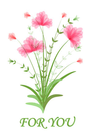 Bouquet of lush pink flowers. Text for you. Happy birthday template, Happy Valentine's Day. Festive floral clipart. Vector illustration with watercolor effect. Beautiful romantic flowers isolated
