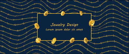 Frame with different beads on a chain background. For your inscription. Vector. Jewelry background with chains
