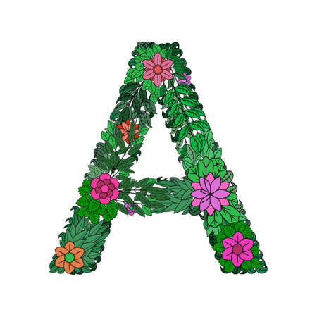 The letter A - bright element of the colorful floral alphabet on a white background. Made from flowers, twigs and leaves. Floral spring ABC element in vector.