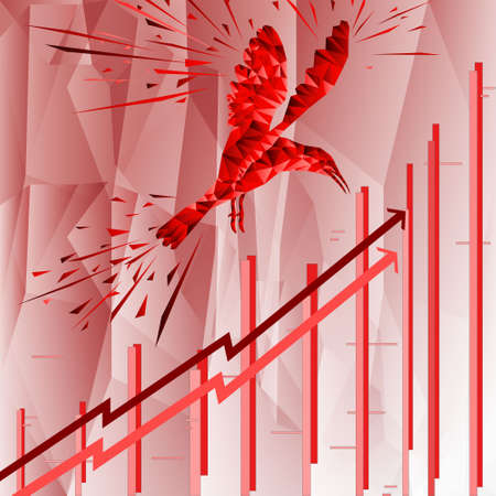 Bird symbol on stock market. Vector forex or product charts - abstract background. Growing market. Inflation. The bird symbol.