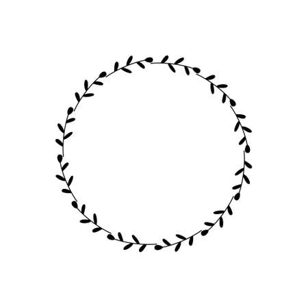 Round frame of black twigs with leaves. Design template for logo, invitation, greetings. Laconic stylish wreath. Minimalist border. Simple wreath of branches. Doodle drawing on white background