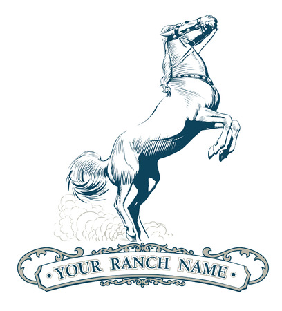 Retro style horse in vector