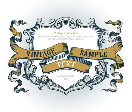 victorian anniversary: vintage emblem Illustration