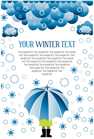 winter snow umbrella Stock Vector - 8682442