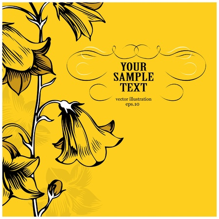 yellow floral card Vector