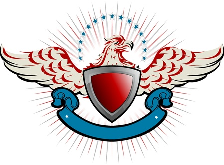 american bald eagle: bird shield emblem Illustration