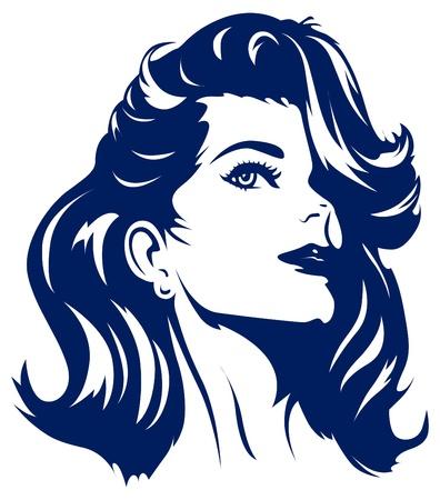 hair scissors: girl face Illustration