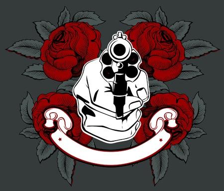 revolver: gun hand rose  Illustration
