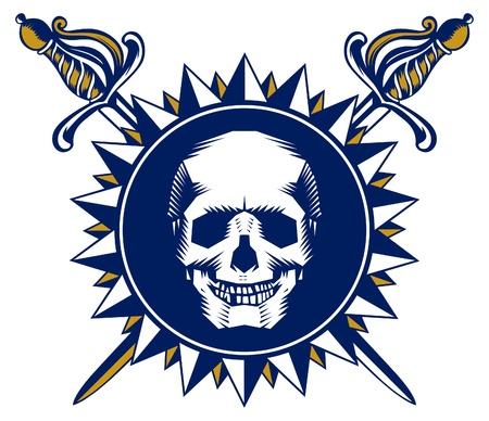drapeau pirate: symbole du crâne Illustration