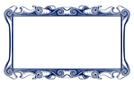 blue frame: antique retro border