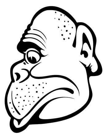 silueta mono: Retrato de mono