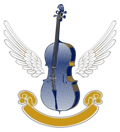 music wing emblem Vector