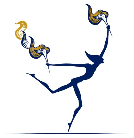 athletic symbol: olympic flame man Illustration
