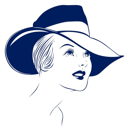 vintage portrait: hat young women portrait  Illustration