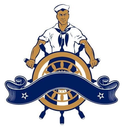 sailor man emblem Stock Vector - 9554779