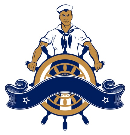 sailor man emblem Фото со стока - 9554779