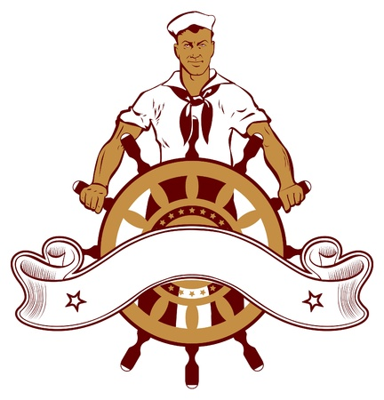 marine ship: sailor man emblem Illustration