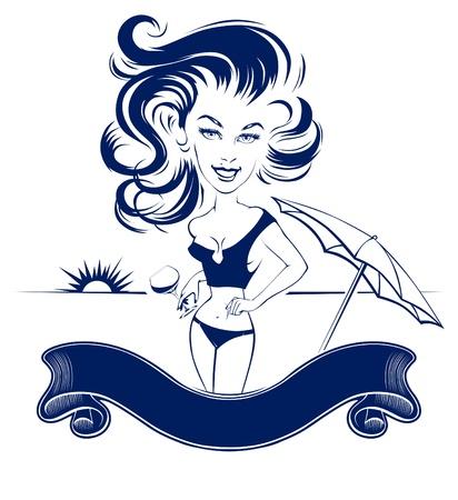 girl beach club banner Vector