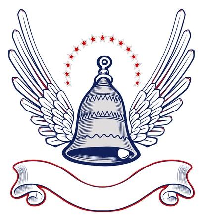 christmas bell wing emblem Vector