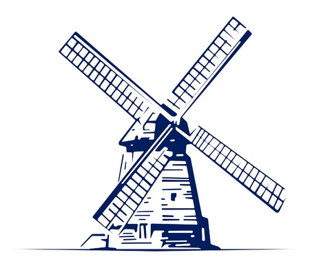 windmills: mill emblem Illustration