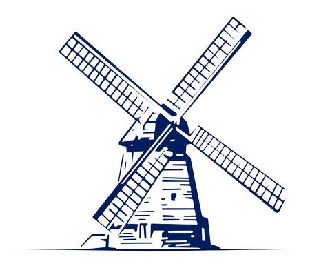 wind power plant: mill emblem Illustration