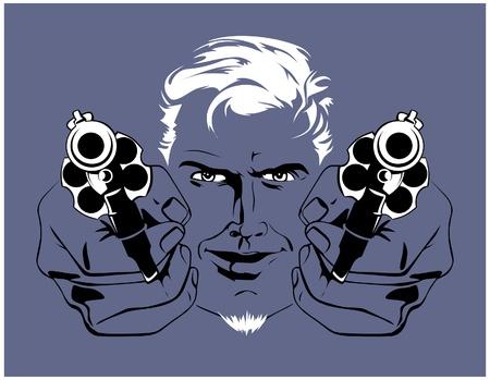 blond gangster man  with guns