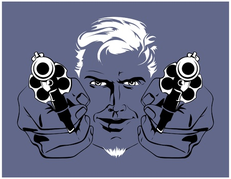 handgun: blond gangster man  with guns