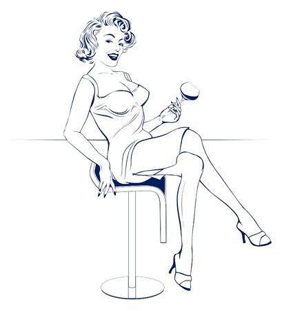 bar girl Ilustração