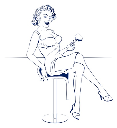 bar table: bar girl Illustration
