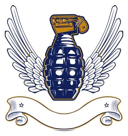 wing grenade emblem Vector