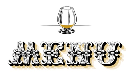 menu blank wine glass Vector