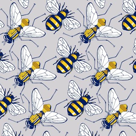 honeybee: bee fly background pattern