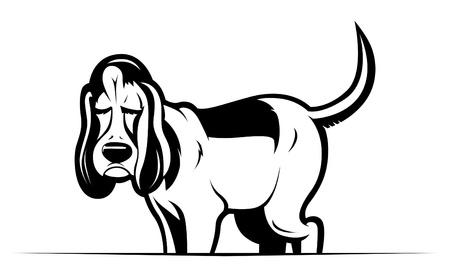 brown and black dog face: funny cartoon dog Illustration