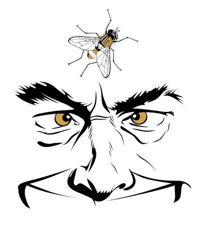 infected: cartoon man face with insect fly