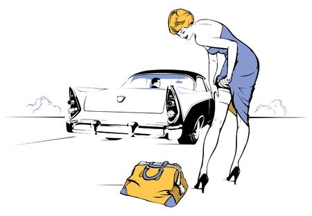 retro housewife: beautiful young woman stop retro car in the road